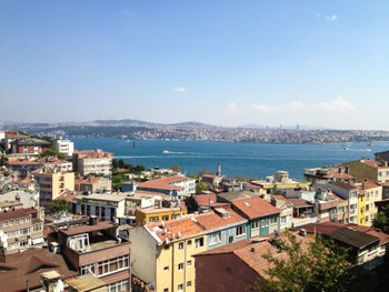 The beautiful view of the Bosphorus from our apartment