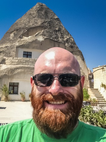 Me in front of my cave hotel in Göreme