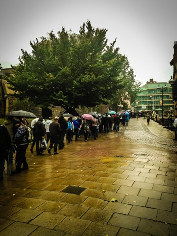 Massive line in the rain to get into the beer festival on Saturday morning