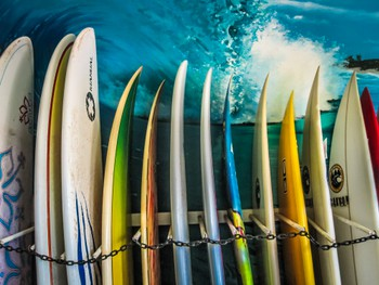 Boards in the surf shop