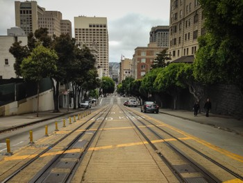 Powell St, Muni sickout meant no cable cars