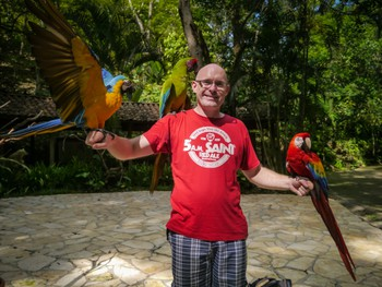 Me and a bunch of macaws