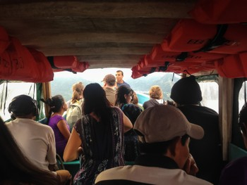Cramped taxi boat